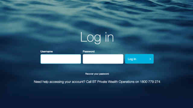 BT Private Wealth login screen